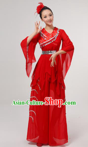 Chinese National Folk Dance Costume Traditional Yangko Dance Fan Dance Red Clothing for Women