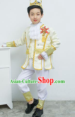 Europe Traditional Court Dance White Costume Drama Stage Performance Clothing for Kids