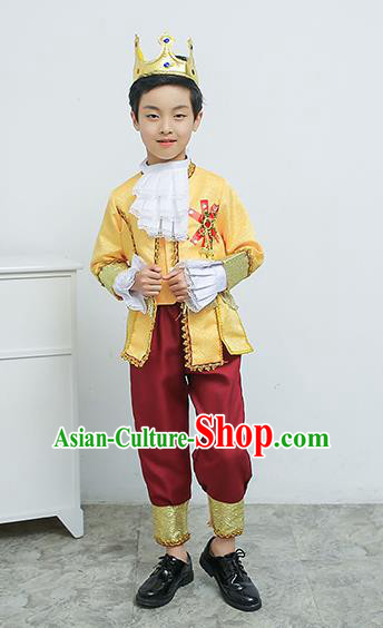 Europe Traditional Court Dance Golden Costume Drama Stage Performance Clothing for Kids