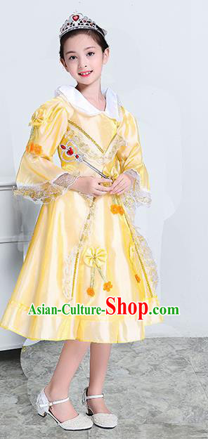 Europe Traditional Court Princess Dance Costume Drama Stage Performance Yellow Dress for Kids