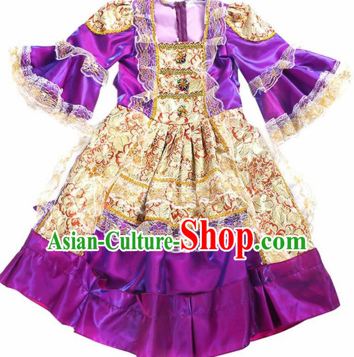 Europe Traditional Court Princess Dance Costume Drama Stage Performance Purple Dress for Kids