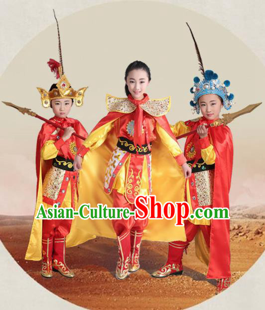 Chinese Traditional Beijing Opera Costume Stage Performance Mu Guiying Clothing for Kids