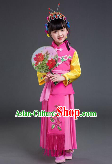 Chinese Traditional Beijing Opera Young Lady Costume Stage Performance Maidservants Clothing for Kids
