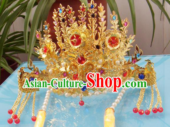 Chinese Traditional Goddess Hair Accessories Ancient Colorful Crystal Phoenix Coronet for Women
