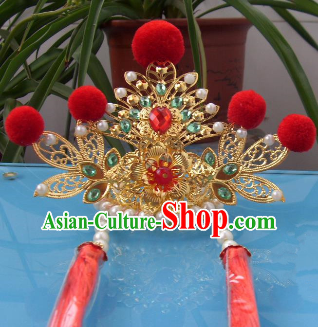 Chinese Traditional God of Wealth Hat Hair Accessories Ancient Hairdo Crown for Men