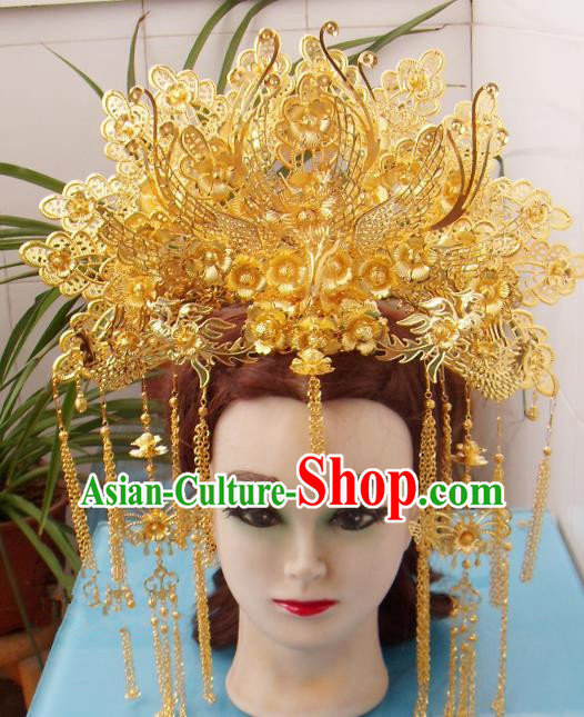 Chinese Traditional Goddess Hair Accessories Ancient Princess Hairpins Golden Phoenix Coronet for Women