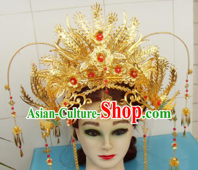 Chinese Traditional Goddess Golden Phoenix Coronet Hairpins Ancient Queen Hair Accessories for Women
