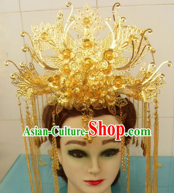 Chinese Traditional Goddess Hairpins Golden Phoenix Coronet Ancient Bride Hair Accessories for Women