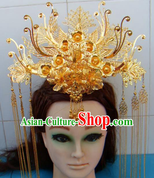 Chinese Traditional Goddess Tassel Hairpins Phoenix Coronet Ancient Bride Hair Accessories for Women
