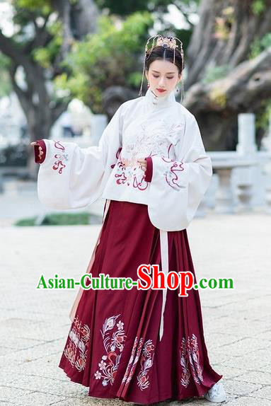 Chinese Traditional Wine Red Hanfu Dress Ancient Ming Dynasty Palace Princess Embroidered Costume for Women