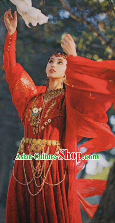 Traditional Chinese Drama Red Hanfu Dress Ancient Ethnic Princess Embroidered Replica Costume and Headpiece for Women