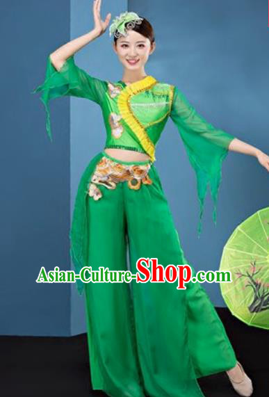 Chinese National Folk Dance Green Costume Traditional Yangko Dance Fan Dance Clothing for Women