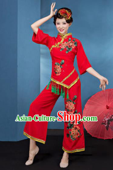 Chinese National Fan Dance Folk Dance Printing Peony Red Costume Traditional Yangko Dance Clothing for Women