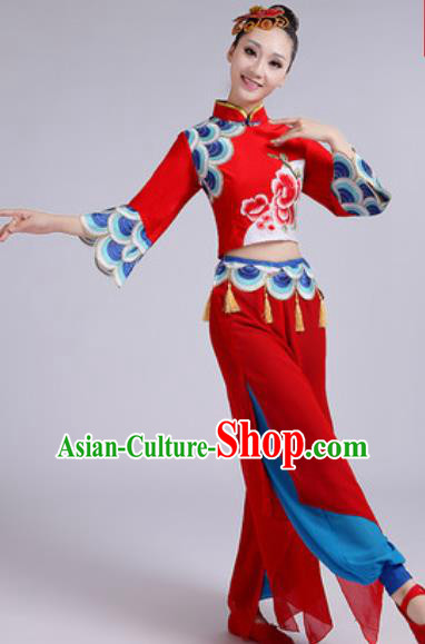 Chinese National Fan Dance Folk Dance Red Costume Traditional Yangko Dance Clothing for Women