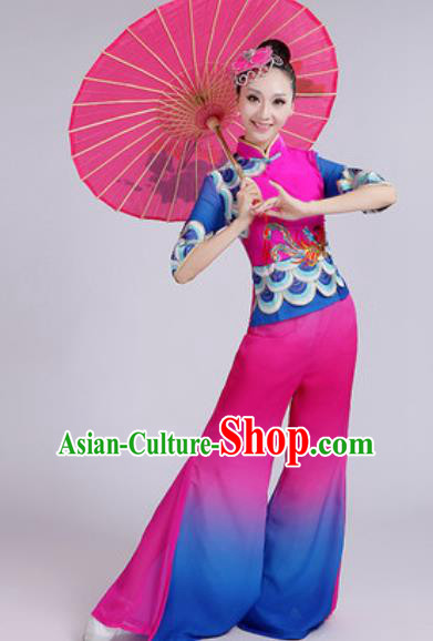 Chinese National Fan Dance Folk Dance Rosy Costume Traditional Yangko Dance Clothing for Women