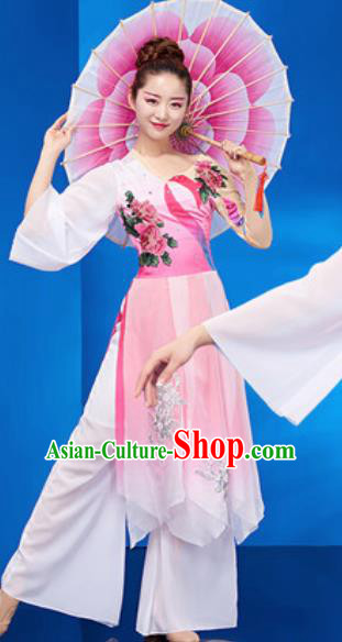 Chinese National Umbrella Dance Pink Dress Traditional Classical Dance Costume for Women