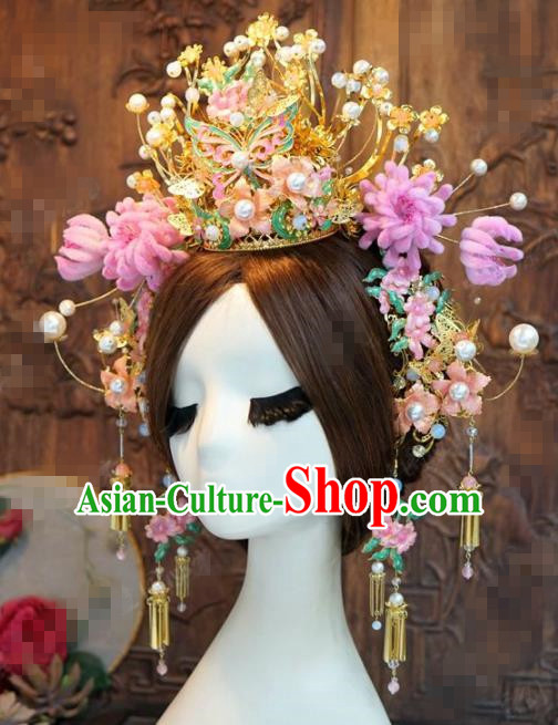 Chinese Traditional Handmade Blueing Butterfly Phoenix Coronet Ancient Chrysanthemum Hairpins Hair Accessories Complete Set for Women