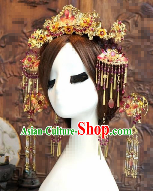 Chinese Traditional Handmade Phoenix Coronet Ancient Hairpins Hair Accessories Complete Set for Women