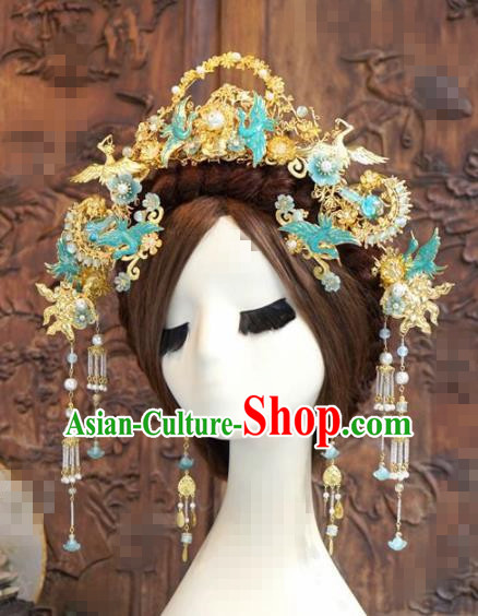 Chinese Traditional Handmade Blueing Cranes Phoenix Coronet Ancient Hairpins Hair Accessories Complete Set for Women