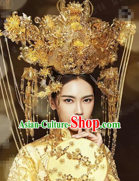 Chinese Traditional Handmade Luxury Phoenix Coronet Ancient Hairpins Wedding Hair Accessories Complete Set for Women
