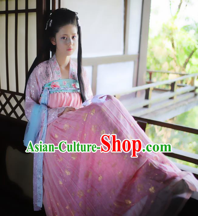 Chinese Traditional Tang Dynasty Princess Pink Hanfu Dress Ancient Peri Goddess Embroidered Historical Costume for Women