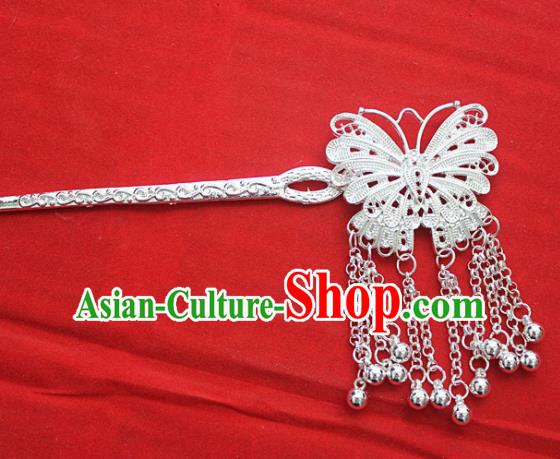 Traditional Chinese Miao Nationality Tassel Hair Accessories Hmong Female Folk Dance Butterfly Hairpins for Women