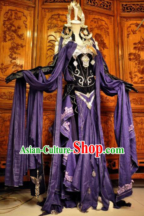 Chinese Traditional Cosplay Female Knight Costume Ancient Swordswoman Purple Dress for Women