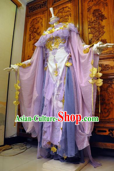 Chinese Traditional Cosplay Female Knight Costume Ancient Swordswoman Light Purple Dress for Women