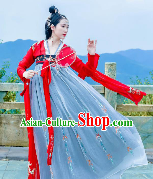 Traditional Chinese Tang Dynasty Imperial Consort Embroidered Historical Costume Ancient Peri Hanfu Dress for Women