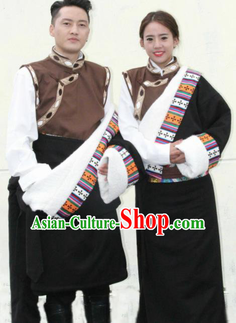 Chinese Traditional Tibetan Bride and Bridegroom Clothing Zang Nationality Heishui Dance Ethnic Costumes for Women for Men