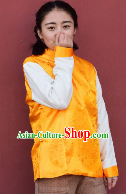 Chinese Traditional Tibetan National Ethnic Golden Vest Zang Nationality Costume for Women
