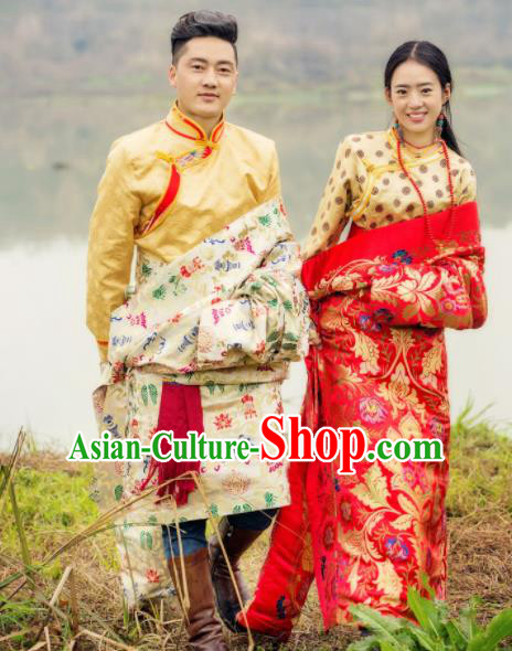 Chinese Traditional Tibetan Wedding Brocade Robes Zang Nationality Bride and Bridegroom Ethnic Costumes for Women for Men