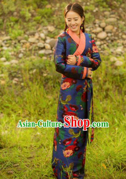 Chinese Traditional Tibetan Ethnic Female Printing Blue Dress Zang Nationality Heishui Dance Costume for Women