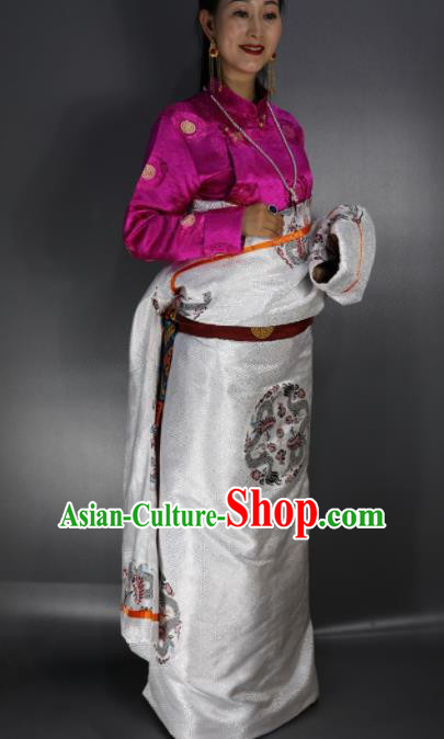 Chinese Traditional Tibetan National Ethnic Embroidered White Robe Zang Nationality Wedding Costume for Women