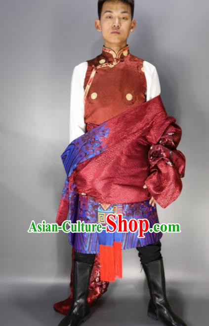Chinese Traditional National Ethnic Wine Red Tibetan Robe Zang Nationality Folk Dance Costumes for Men