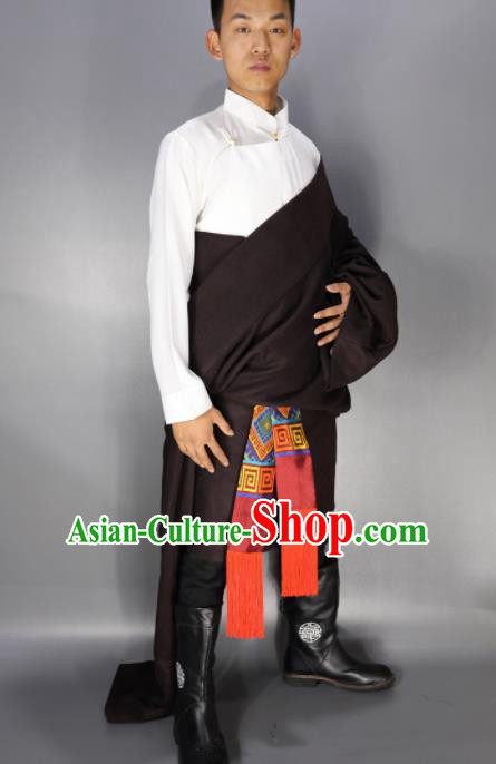 Traditional Chinese National Ethnic Dark Red Tibetan Robe Zang Nationality Folk Dance Costumes for Men