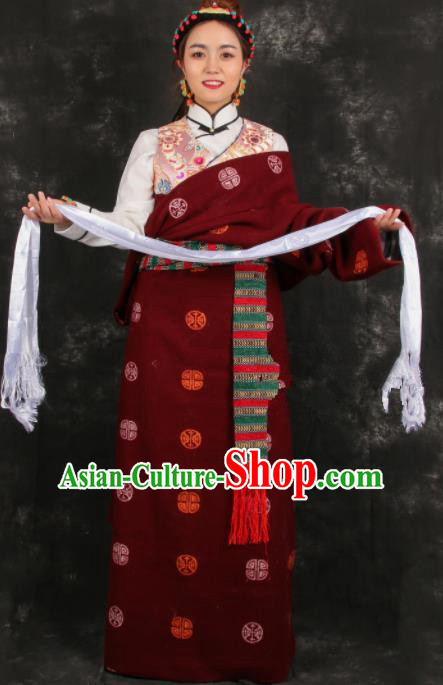 Chinese Traditional Tibetan Ethnic Bride Purplish Red Robe Zang Nationality Heishui Dance Costume for Women