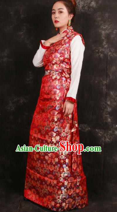 Chinese Traditional Tibetan Ethnic Bride Red Brocade Dress Zang Nationality Heishui Dance Costume for Women