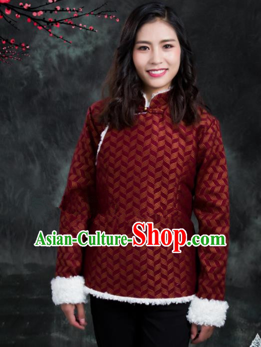 Chinese Traditional Ethnic Female Amaranth Tibetan Jacket Zang Nationality Heishui Dance Costume for Women