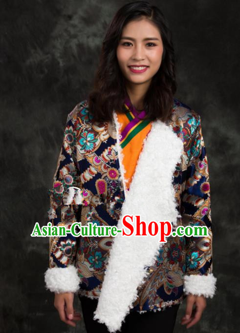 Chinese Traditional Ethnic Female Navy Brocade Tibetan Jacket Zang Nationality Heishui Dance Costume for Women