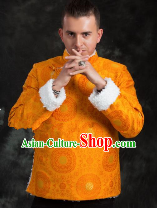 Chinese Traditional Tibetan Yellow Brocade Cotton Padded Jacket Zang Nationality Ethnic Costume for Men