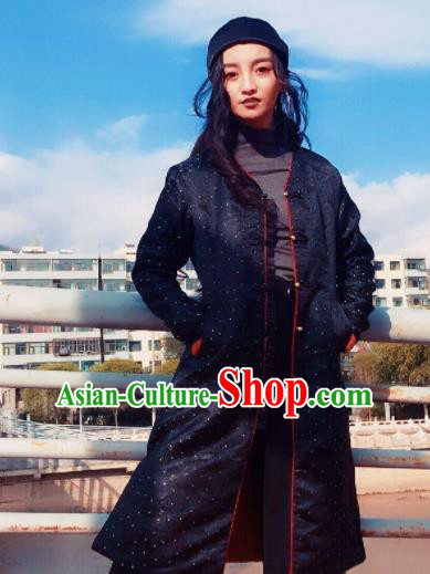 Chinese Traditional Ethnic Female Black Dust Coat Zang Nationality Costume for Women