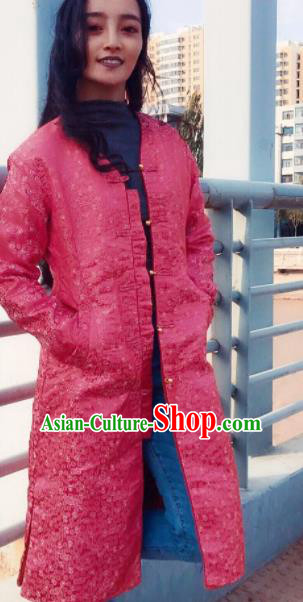 Chinese Traditional Ethnic Female Pink Dust Coat Zang Nationality Costume for Women