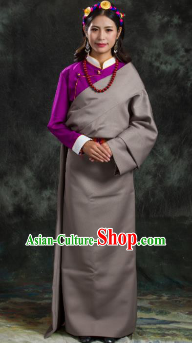 Chinese Traditional National Ethnic Grey Tibetan Robe Zang Nationality Costume for Women