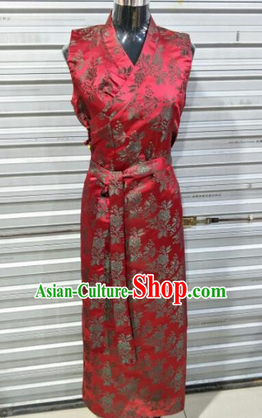 Traditional Chinese National Tibetan Ethnic Red Brocade Dress Zang Nationality Folk Dance Costume for Women