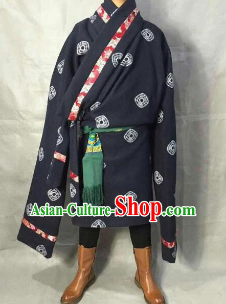 Traditional Chinese National Ethnic Navy Tibetan Robe Zang Nationality Folk Dance Costumes for Men
