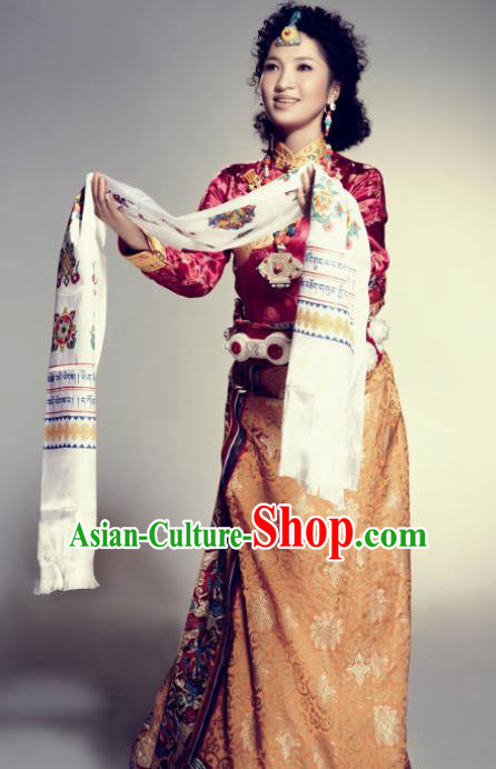 Traditional Chinese National Ethnic Wedding Tibetan Dress Zang Nationality Folk Dance Costume for Women