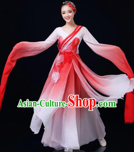 Traditional Chinese Classical Dance Red Dress Umbrella Dance Fan Dance Costume for Women