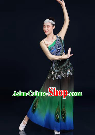 Traditional Chinese Ethnic Peacock Dance Green Dress Dai Nationality Stage Performance Costume for Women
