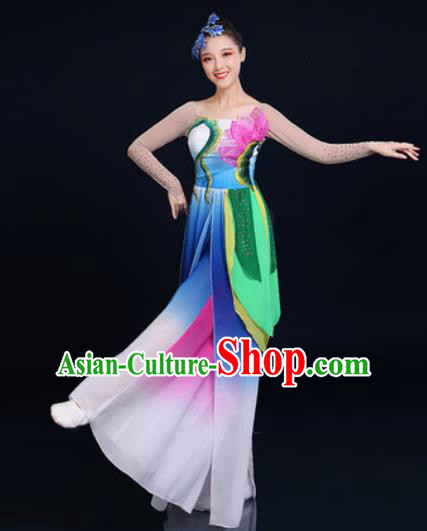 Traditional Chinese Classical Dance Blue Dress Umbrella Dance Stage Performance Fan Dance Costume for Women